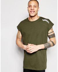 ASOS - Green Oversized Sleeveless T-shirt With Uptown Print In Khaki for Men - Lyst