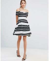Oasis - White Asis Textured Stripe Bardot Dress - Lyst