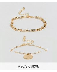 ASOS - Metallic Pack Of 2 Chain Link And Disc Bracelets - Lyst