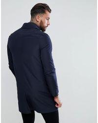 ASOS DESIGN - Blue Shower Resistant Trench Coat In Navy for Men - Lyst