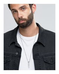 ASOS - Necklace With Clear Stone Pendant - White for Men - Lyst
