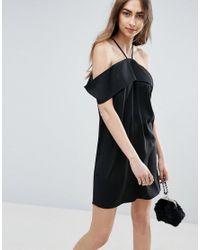 ASOS | Black Clean Cold Shoulder Dress | Lyst