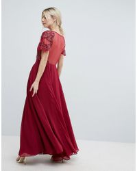 ASOS - Red Geo Embellished Maxi Dress - Lyst