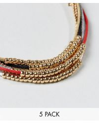 ASOS - Metallic Lightweight Bracelet Pack With Gold Beads - Lyst