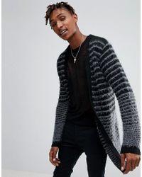 ASOS - Longline Boucle Textured Stripe Cardigan In Black for Men - Lyst