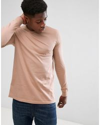 ASOS - Natural Longline Long Sleeve T-shirt With Crew Neck In Beige for Men - Lyst