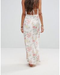 Billabong - Multicolor Button Front Maxi Beach Skirt In Vintage Floral - Lyst