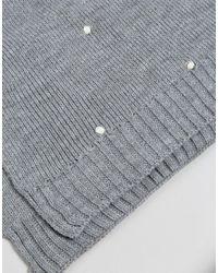 Pieces - Gray Pom Pom Detail Knitted Scarf - Lyst