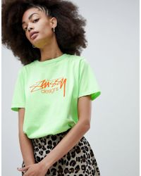 0fbdb5a45 Stussy Relaxed Fit T-shirt With Designs Logo in Green - Lyst