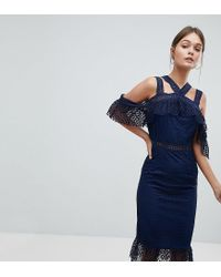 PRETTYLITTLETHING - Blue Exclusive Lace Strappy Midi Dress - Lyst
