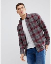 Hollister - Red Flannel Shirt In Burgundy for Men - Lyst