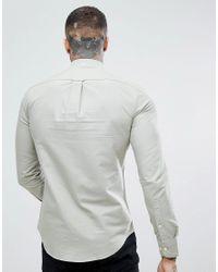 Farah - Brewer Slim Fit Oxford Shirt In Green for Men - Lyst