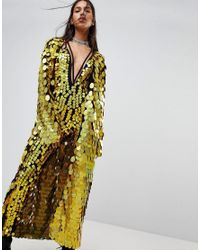 Jaded London - Metallic Maxi Kimono In Sequin Co-ord - Lyst