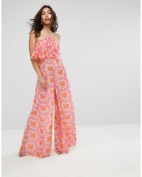 1c9010d7e98e Women s Pink Jumpsuit In Crinkle With Wide Leg In Halter Neck In Brocade  Print