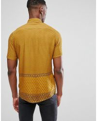 ASOS - Brown Asos Tall Regular Fit Viscose Print Shirt for Men - Lyst