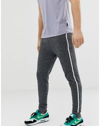 ASOS Gray Skinny Sweatpants In Charcoal With Side Stripe for men