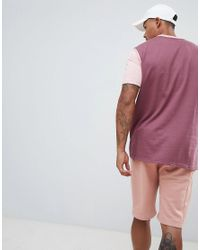 BoohooMAN Drop Shoulder T-shirt In Tonal Pink Colour Block for men