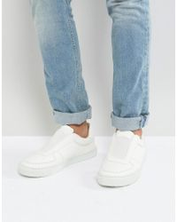 ASOS - Asos Slip On Trainers In White With Elastic for Men - Lyst