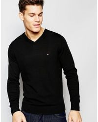 Tommy Hilfiger - V Neck Jumper In Black for Men - Lyst