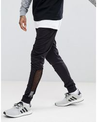 ASOS - Black Skinny Poly Tricot Jogger With Mesh Panel for Men - Lyst