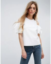ASOS - White Top With Cold Shoulder Tulip Sleeve - Lyst