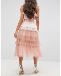 ASOS - Pink Tulle Prom Skirt With Rainbow Layers And Belt - Lyst