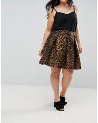 ASOS - Multicolor Skater Skirt With Belt In Animal Print Jacquard - Lyst