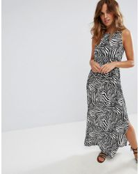 ASOS - Multicolor Bow Back Maxi Dress In Zebra Print - Lyst