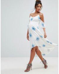 ASOS - White Cold Shoulder Embroidered Midi Dress With Dip Back Hem - Lyst