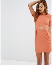 ASOS | Pink Tulip Mini Dress With Cut Out In Texture | Lyst