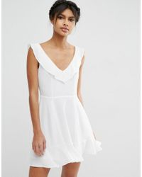 ASOS | White Skater Dress With Frill Detail | Lyst