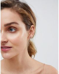 ASOS - Metallic Rose Gold Plated Sterling Silver Diamond Stud Earrings - Lyst