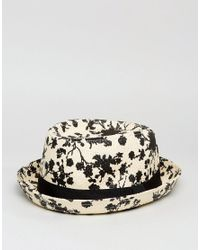 ASOS - Natural Straw Pork Pie With Floral Print for Men - Lyst