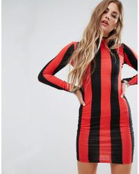 Motel - Red Bodycon Dress With Long Sleeve In Stripe - Lyst