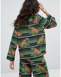 RAGYARD - Festival Green Tiger Pyjama Top - Lyst