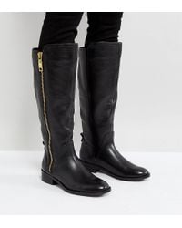 ALDO - Black Wide Fit Casual Knee Boots In Leather - Lyst