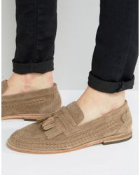 H by Hudson | Natural Zair Suede Tassel Loafers for Men | Lyst
