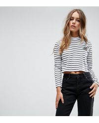 Daisy Street - White Crop Top With Tattoo Logo - Lyst