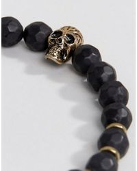 Icon Brand - Skull Flora Mortis Beaded Bracelet In Black for Men - Lyst