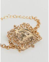 ASOS - Metallic Design Bracelet With Vintage Style Filigree Icon Square Pendant In Gold - Lyst