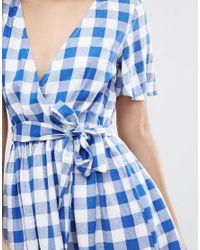 ASOS - Blue Beach Wrap Dress In Gingham - Lyst