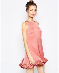 ASOS - Pink Mini Shift Dress With Ruffle Hem - Lyst
