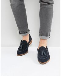 ASOS - Blue Loafers In Navy Suede With Leather Binding And Natural Sole for Men - Lyst