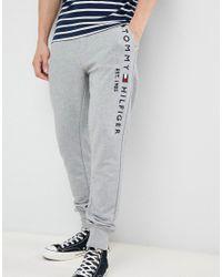 8314a4de Tommy Hilfiger - Gray Flag Logo Leg Cuffed joggers In Grey Marl for Men -  Lyst