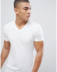 Esprit - Organic Muscle Fit V Neck T-shirt In White for Men - Lyst
