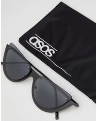 ASOS - Black Sliced Top Extreme Cat Eye Sunglasses - Lyst