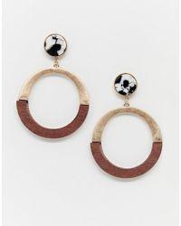 New Look - Marble And Wood Hoop Earring In Brown Pattern - Lyst