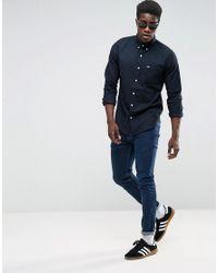 Hollister - Oxford Shirt Cross Dye Slim Fit In Black for Men - Lyst