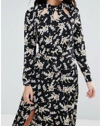 Liquorish - Black Monochrome Maxi Dress With Slits - Lyst