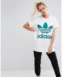 def531ecd9d Lyst - adidas Originals Originals Big Trefoil Tee In White And Green ...